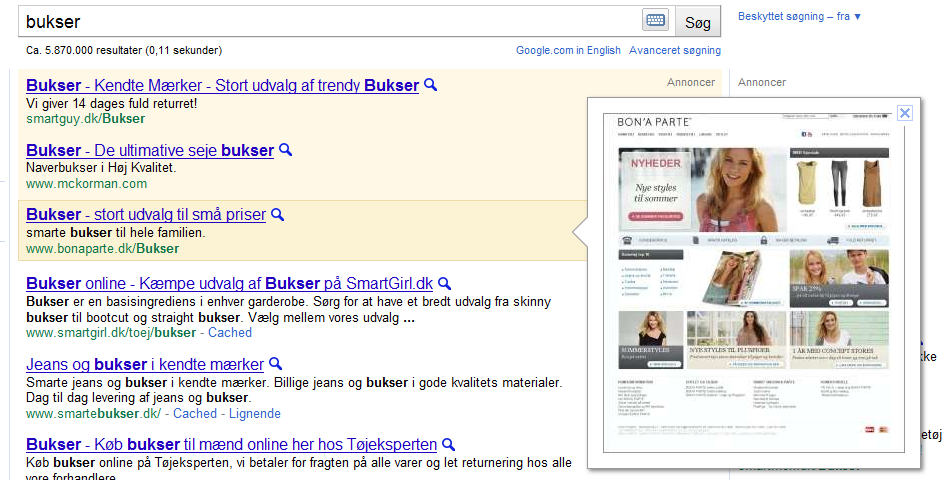 Google Instant Preview i AdWords